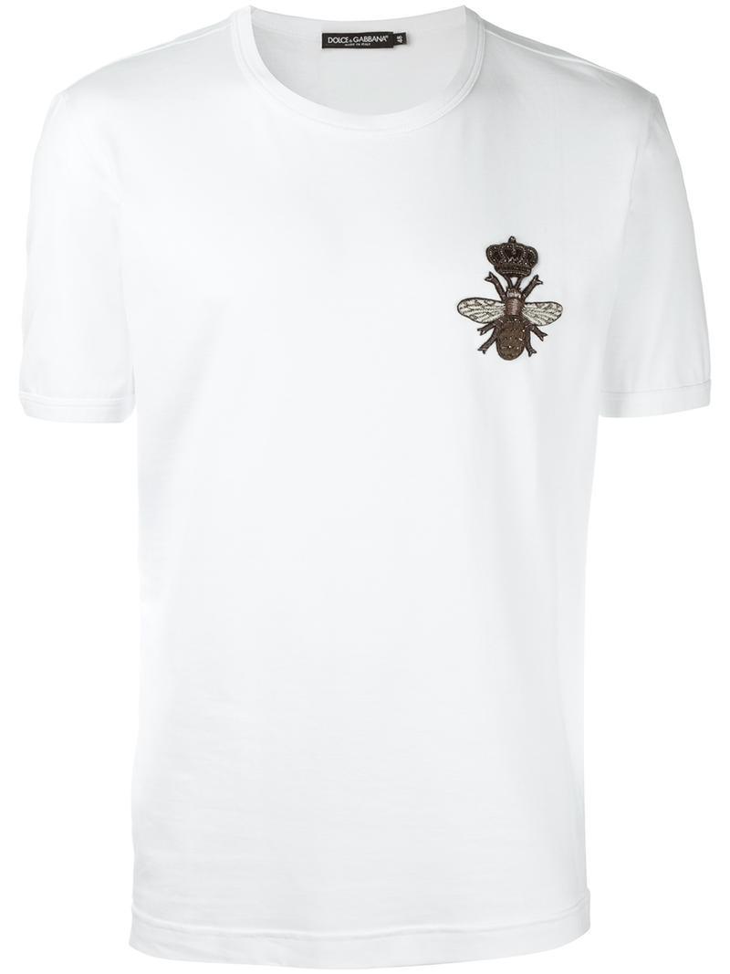 24215aaf Dolce & Gabbana – crown & bee patch T-shirt – men –  Cotton/Brass/Viscose/Silk – 46, White