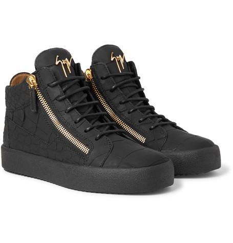 045639a95c12c Giuseppe Zanotti – Logoball Croc-effect Leather High-top Sneakers – Black
