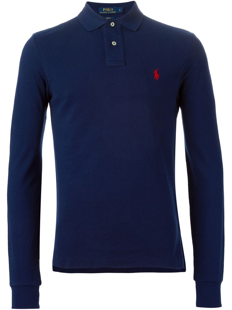 Cotton SBlue Ralph Shirt Men Polo Lauren Longsleeved WHIYED29