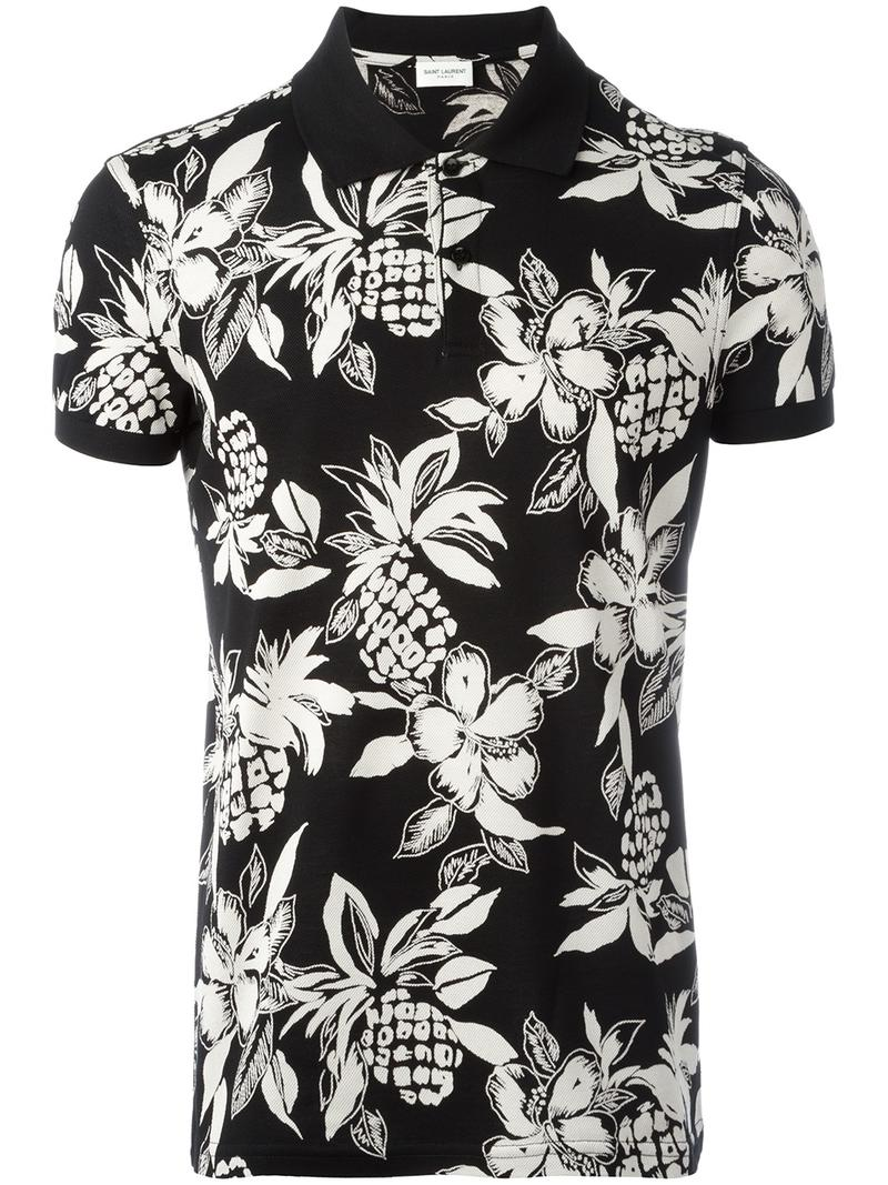 6d19f74f Saint Laurent - Hawaiian hibiscus print polo shirt - men - Cotton ...