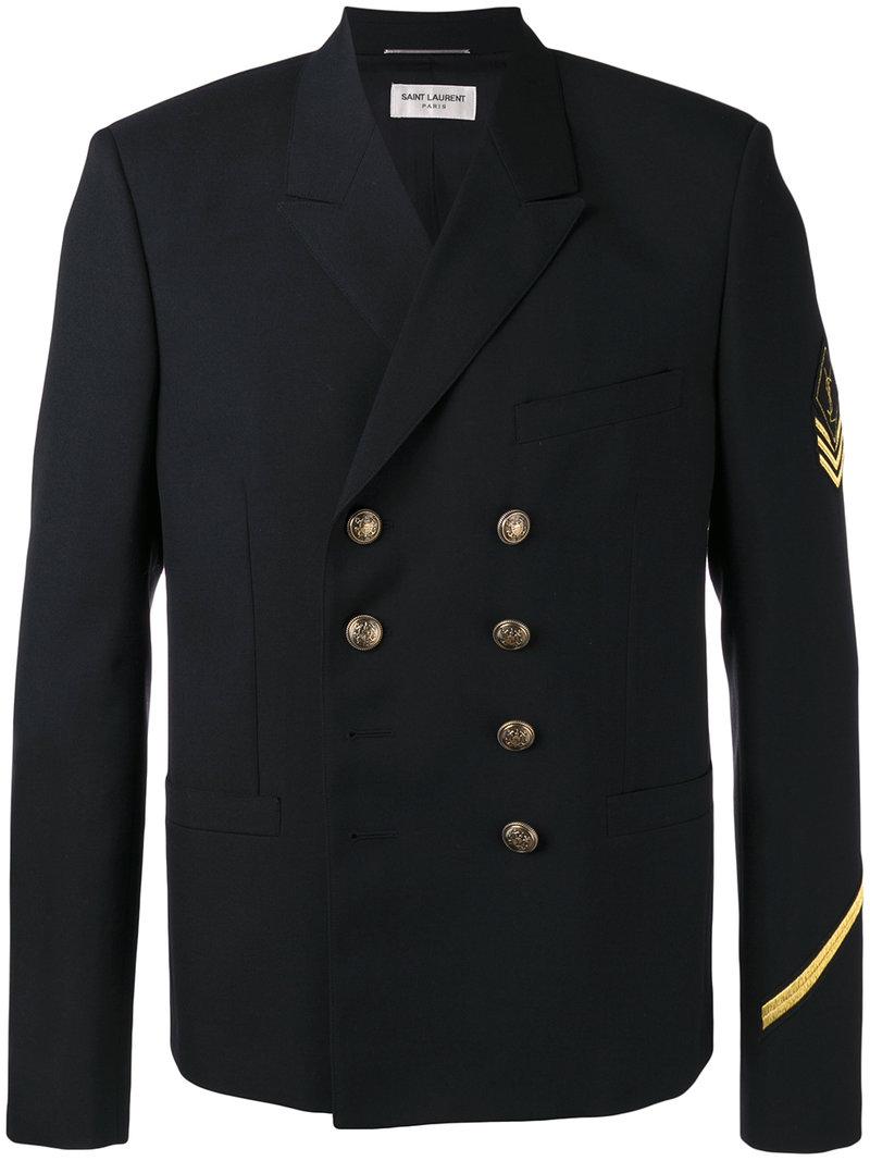 37aee24fb4c Saint Laurent – double breasted military jacket – men – Wool – 48, Black