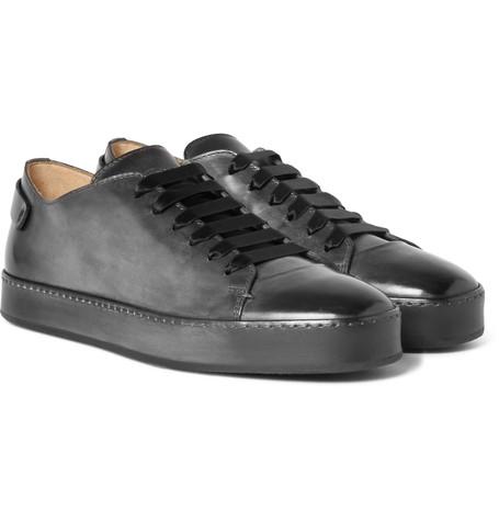 Santoni – Burnished-leather Sneakers