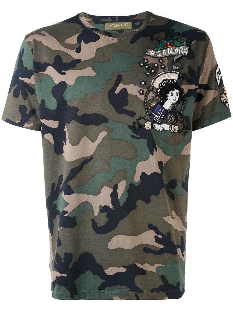 Valentino Camo Print T Shirt Men Cotton Polyester