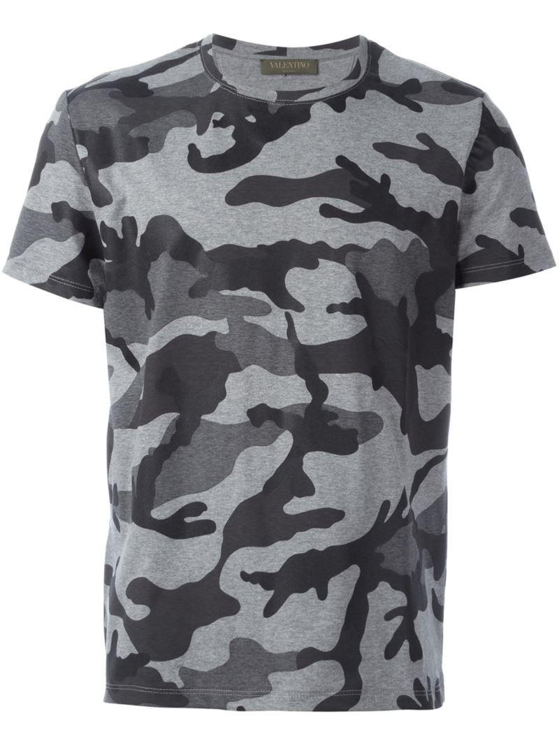 Valentino Camouflage T Shirt Men Cotton L Grey
