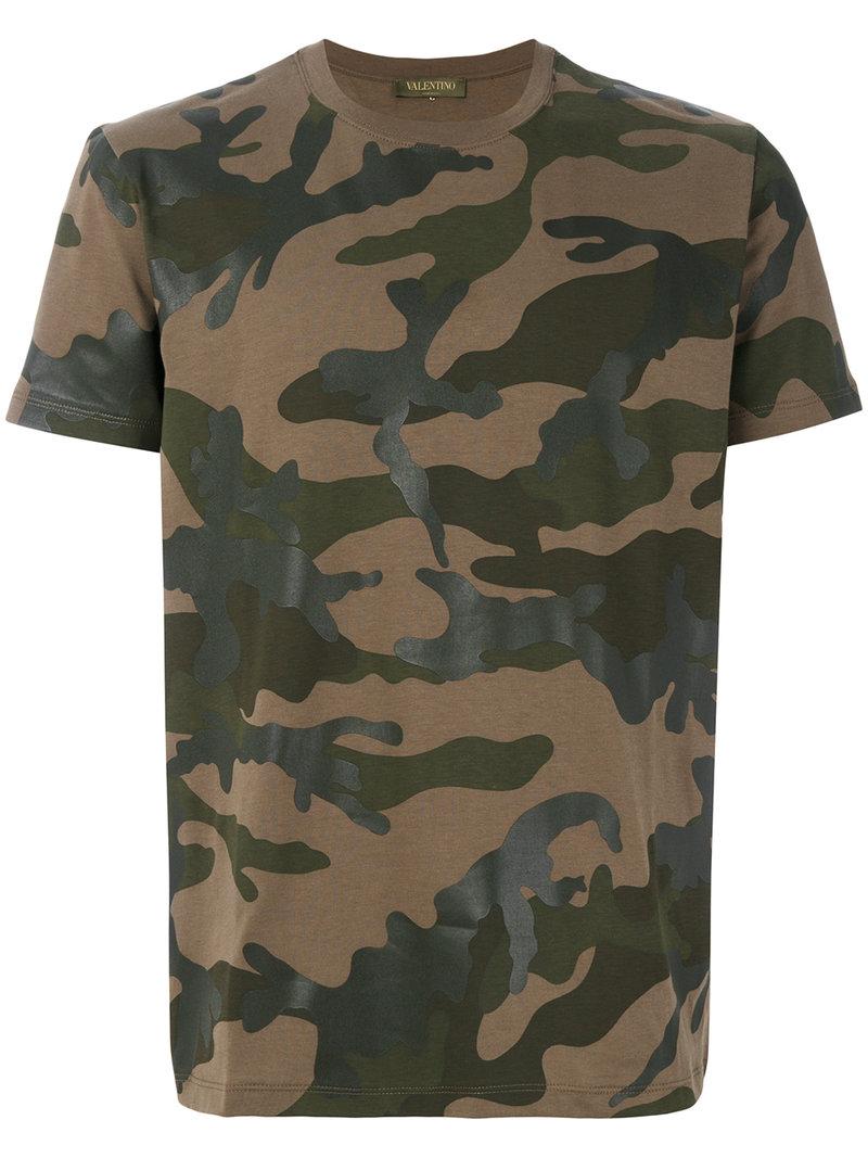 Valentino Camouflage T Shirt Men Cotton Xl Green