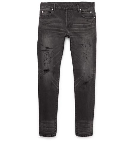1401c1a95b0 Balmain - Skinny-fit Distressed Denim Jeans - Black   SECRET PARISIEN