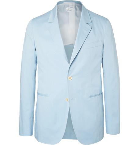 df7b52029 Caruso - Blue Slim-fit Stretch-cotton Suit Jacket - Sky blue ...